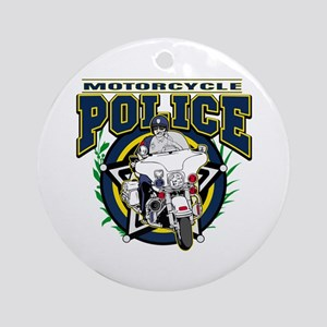 Motorcycle Police Officer Ornament (Round)