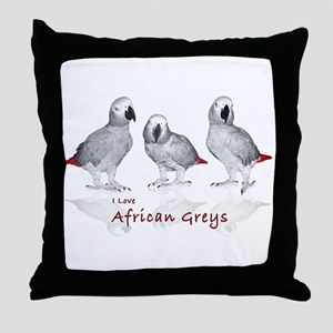 african grey parrots Throw Pillow