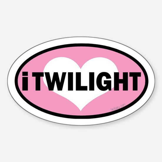 i heart Twilight pink Euro Sticker (Oval)
