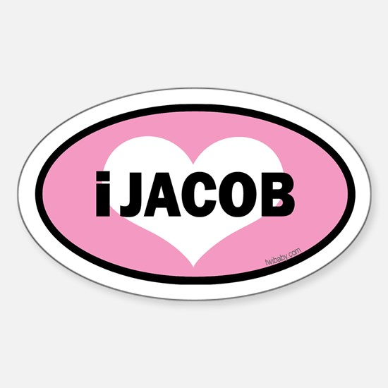 twibaby's i heart Jacob euro Sticker (Oval)