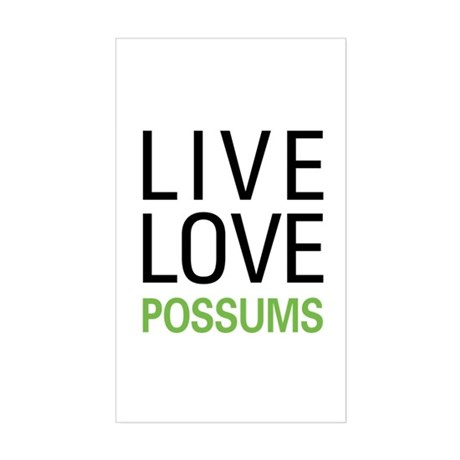 Live Love Possums Sticker (Rectangle)