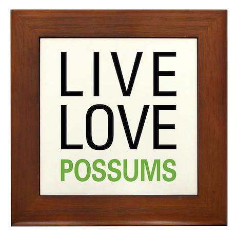 Live Love Possums Framed Tile