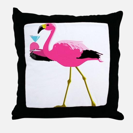 Pink Flamingo Drinking A Martini Throw Pillow