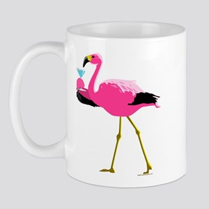 Pink Flamingo Drinking A Martini Mug