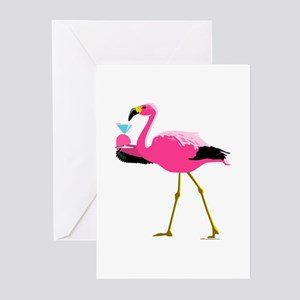 Pink Flamingo Drinking A Martini Greeting Cards (P