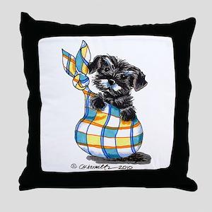 Schnauzer Sack Puppy Throw Pillow