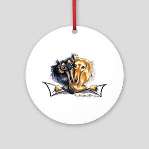 Longhair Dachshund Lover Ornament (Round)
