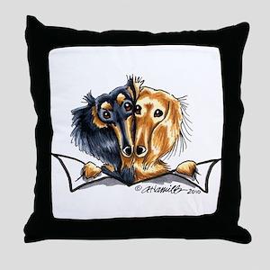 Longhair Dachshund Lover Throw Pillow