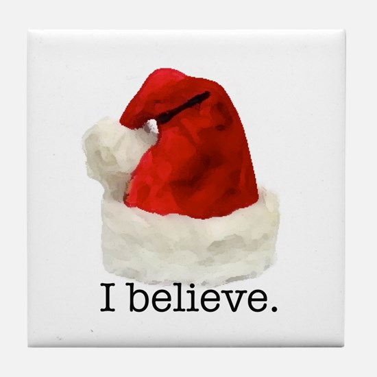 "Christmas ""I Believe"" Tile Coaster"