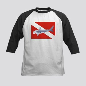 hammerhead on dive flag Kids Baseball Jersey