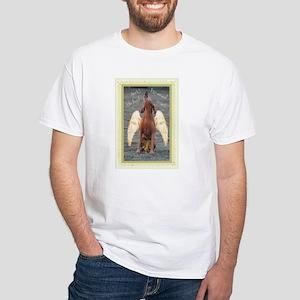 Men's Vizsla White T-Shirt (viz-angel)