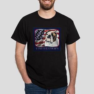 English Bulldog United Paws US Flag Black T-Shirt