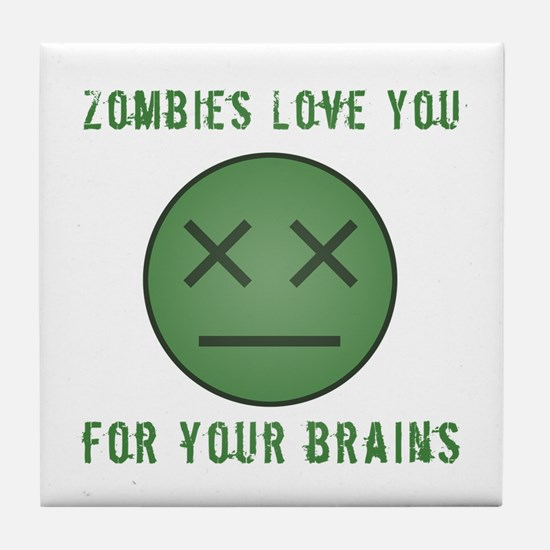 Zombie Face (Brains) Tile Coaster