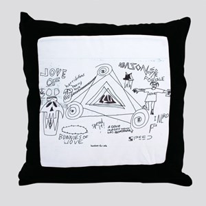 Crude Art w/ Blue Specs Throw Pillow