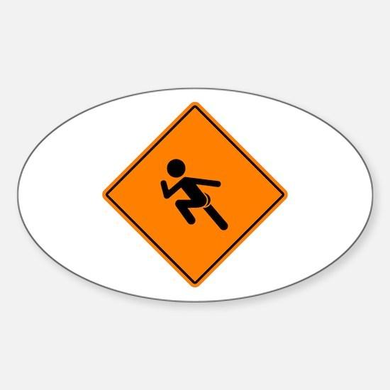 Streaker Sign Sticker (Oval)