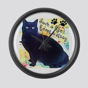 Stray Black Kitty Large Wall Clock