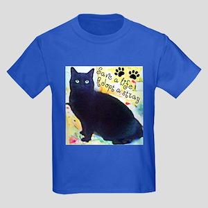 Stray Black Kitty Kids Dark T-Shirt