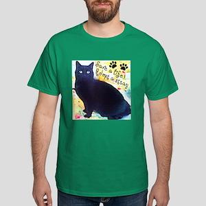 Stray Black Kitty Dark T-Shirt