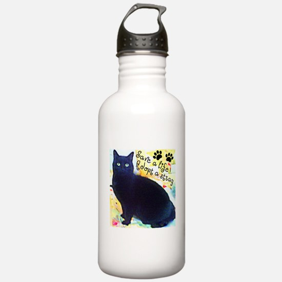 Stray Black Kitty Water Bottle