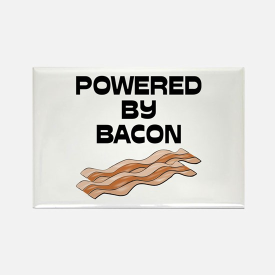 Powered By Bacon Rectangle Magnet