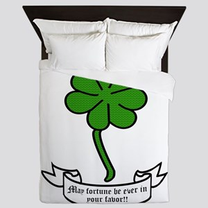 7 leaf clover - May fortune be ever in Queen Duvet