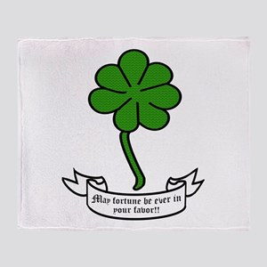 7 leaf clover - May fortune be ever Throw Blanket