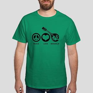 Peace Love Mandolin Dark T-Shirt