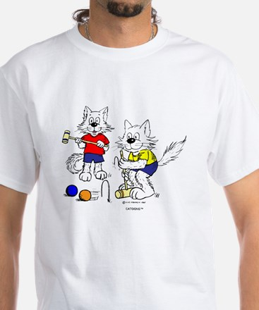 Croquet Cats White T-Shirt