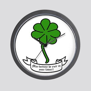 7 leaf clover - May fortune be ever in Wall Clock