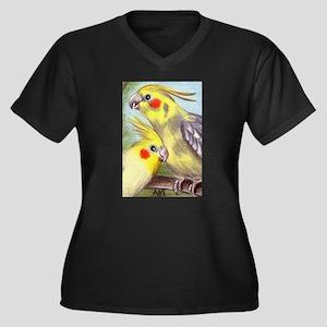 COCKATIELS Women's Plus Size V-Neck Dark T-Shirt
