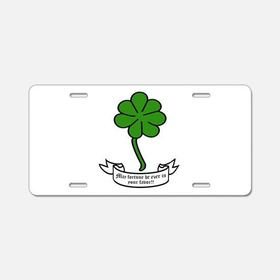 7 leaf clover - May fortune Aluminum License Plate