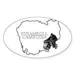 Steamroll Cambodia Sticker (Oval 50 pk)