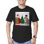 Santa and a Robber Men's Fitted T-Shirt (dark)