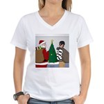 Santa and a Robber Women's V-Neck T-Shirt