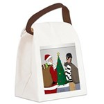 Santa and a Robber Canvas Lunch Bag