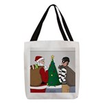 Santa and a Robber Polyester Tote Bag