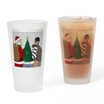 Santa and a Robber Drinking Glass