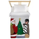 Santa and a Robber Twin Duvet Cover