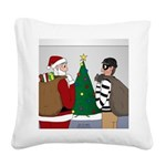 Santa and a Robber Square Canvas Pillow