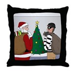Santa and a Robber Throw Pillow