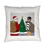 Santa and a Robber Everyday Pillow