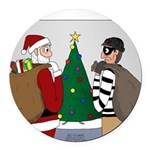 Santa and a Robber Round Car Magnet