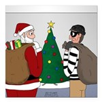 Santa and a Robber Square Car Magnet 3