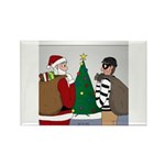Santa and a Robber Rectangle Magnet (10 pack)