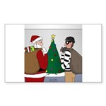 Santa and a Robber Sticker (Rectangle 50 pk)