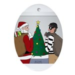 Santa and a Robber Oval Ornament