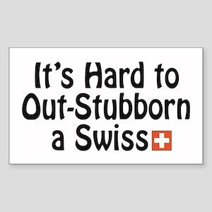Stubborn Swiss Rectangle Sticker
