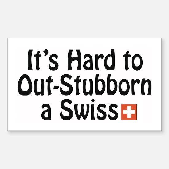 Stubborn Swiss Rectangle Decal