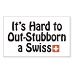 Stubborn Swiss Rectangle Sticker