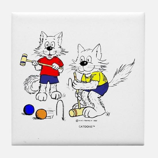 Croquet Cats Tile Coaster